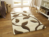 MED - EXTRA LARGE THICK DEEP PILE SHAGGY SOFT CREAM IVORY WHITE BEIGE/BROWN RUG
