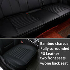 PU Leather Bamboo Charcoal Car Seat Cover Cushion Front Rear Seat Breathable Pad