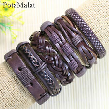 PotaMalat 6pcs Handmade Genuine Leather Bracelets Brown Unisex Bangle Gift-D8