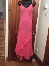 Designer Coral Linen Long Dress UK 12 ASSYMETRIC Hem