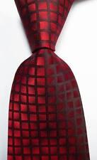 New Classic Dark Red Black Checks JACQUARD WOVEN 100% Silk Men's Tie Necktie