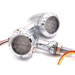 2x10mm Chrome LED Bullet Brake Blinker Light Turn Signal Motorcycle For Harley