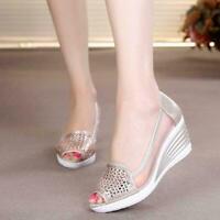 Womens Casual Peep Toe Wedge Platform Slip On Rhinestone Hollow Shoes Chic Zsell