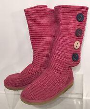 Ugg Australia Boots 1967 Knit Tall Sweater 4 Buttons Pink Big Kids Size: 2 EUC