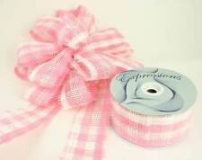 """Pink / White Paper Mesh Ribbon 2.5"""" X 20 Yards (Pack of 4 Rolls)"""
