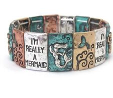 BEACHY I'M REALLY A MERMAID COPPER SILVER TONE GOLD TONE PATINA STRETCH BRACELET