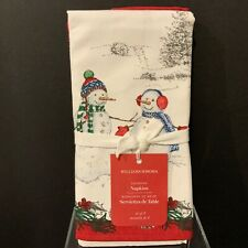 WILLIAMS- SONOMA Set of 4 Snowman Dinner Napkins 100% Cotton NEW Christmas