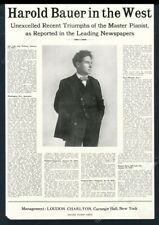 1918 Harold Bauer photo piano recital tour booking trade print ad