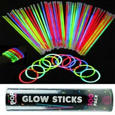 100 x glow neon sticks mixed colours party pack