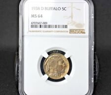1938-D BUFFALO 5C NGC MS64 B/U AGED BEAUTY~ADD IT TO YOUR COLLECTION TODAY~