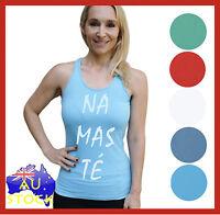 Singlet Yoga NAMASTE Womens ladies Pilates gym Bamboo Fit Training WYBS-NAM
