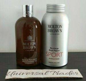 Molton Brown Re-charge Black Pepper Bath & Shower Gel 300ml + SPORT Muscle Soak