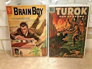Vintage DELL Comics TUROK SON OF STONE #9 and BRAIN BOY #1330