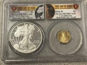 2016-W Gold Silver Eagle 30th Anniversary Bimetallic Set PCGS PR70DCAM 1 of 1000