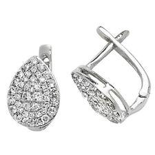 Diamond Earrings Leverback Stud White Gold 0.50ctw Appraisal Certificate