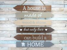 A House Is Made Of Love Home Multi Arrow Hanging Wooden Sign