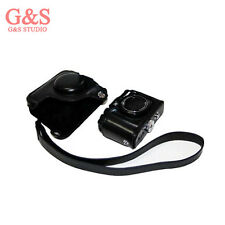 black Leather Camera Case Bag +Strap for Canon Powershot G15