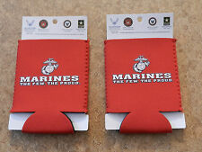 MARINES Logo Can Koozie Cooler Neoprene 2pk Set