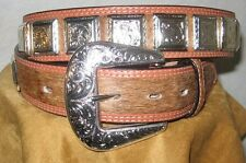 3D GENUINE LEATHER HAIR MENS WESTERN  BELT SILVER TONE CONCHO  1 1/2  SIZE 44