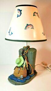 Vintage Rustic Fisherman Lamp Resin Wood w/ Pier Hat Fish, Cabin Man Cave Lodge
