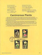 #0138 34c Carnivorous Plants #3528-3531 Souvenir Page