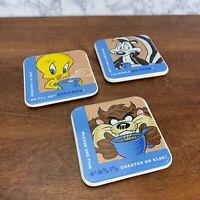 Vintage 1997 Warner Bros. WB Coasters Looney Lot of 3 Tweety, Taz, Pepe le Pew