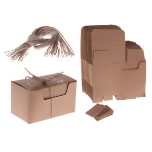 50 Pieces Kraft Paper Candy Gift Boxes with Rope Tags Baby Shower Favors