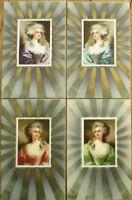 SET OF FOUR 1910 Color Litho Postcards - Women & Gold Designs