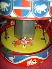 Wolverine #31A, musical lithographed tin, wind-up merry-go-round, Carousel 1930s