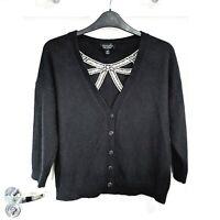 TOPSHOP Ladies Size UK 12 Cardigan Black Angora White Bow 3/4 Sleeves EU 40 US 8