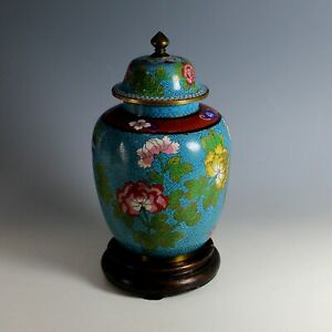 Vintage Chinese Lidded Cloisonne Urn with Stand