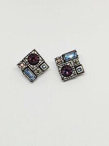 Patricia Locke Silver Plate Multi-Gemstone Clip on Earrings