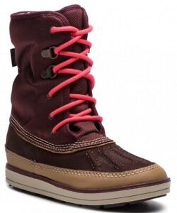 Clarks Girls WarmLined Boots ARROW MOON GTX Inf Burgundy Leather UK Size UK 8 G