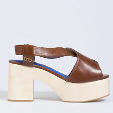 Jeffrey Campbell Falk Brown Sandals Leather Block Wood Heel Shoes UK 7.5 EU 40