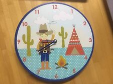 Gisela Graham Cowboy Wall Clock - Cute Bedroom / playroom catus teepee Christmas