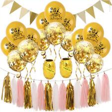 Happy New Year Silvester Neujahr Party Feier Deko Set - Girlanden Ballons Gold