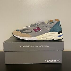 New Balance Men's 990v2 Made In USA M990CP2 Grey Green Maroon Shoes Size 11.5