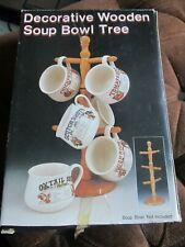 Vintage Decorative Wooden Soup Bowl Tree NOS