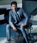 Custom Made Fashion High Quality Blue Regular Broadcloth Groom Wedding Suits !