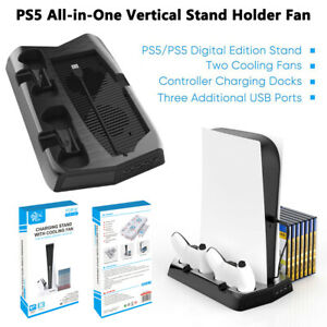 Console Vertical Stand + Cooling Fan Controller Charging Dock for Playstation 5