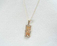 'Mom'  10k Two Tone Gold Pendant with Diamond & Necklace