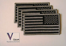 US USA American Flag patch REVERSE SUBDUED BLACK and GRAY  **LOT of 4**