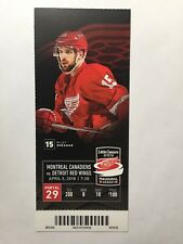 DETROIT RED WINGS VS MONTREAL CANADIENS, APRIL 5, 2018 TICKET STUB