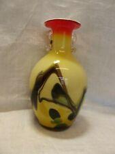 Yellow Cased Murano Vase with Abstract Swirls