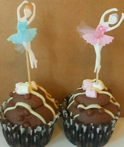 12 Ballet Dancer cup cake birthday cake.kids party toppers.10cm Pink & blue Net