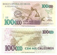 Brazil 100 Cruzeiros Reais on 100,000 Cruzeiros ND (1993)  P-238 Banknotes UNC