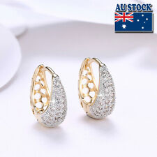 Elegant 18K Yellow Gold Filled CZ Crystal Tear Drop Huggie Hoop Earrings
