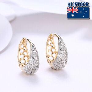 Elegant 18K Gold Filled CZ Crystal Tear Drop Huggie Hoop Earrings