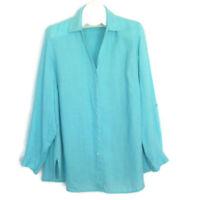 "Coldwater Creek 1X Shirt Top Womens 51"" Bust Linen Aqua Button Front Plus Size"