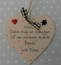 Chance made us colleagues personalised friendship plaque handcrafted heart